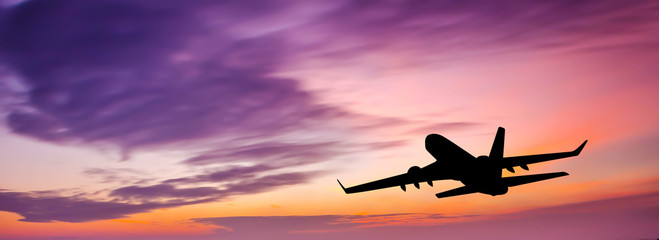 passenger plane at sunset Wall mural