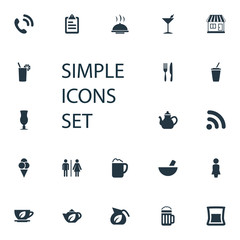 Vector Illustration Set Of Simple Cafe Icons. Elements Mortar, Wireless Connection, Toilet And Other Synonyms Handset, Toast And Kettle.