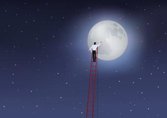 Lune - échelle - homme - homme d'affaires - concept - succès