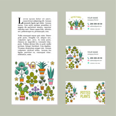 Potted plants. Vector illustration, corporate identity. Business cards, leaflet. Flower shop. Isolated on white background.