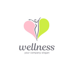 Fitness and wellness vector logo design.