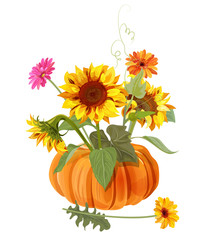 Bouquet autumn flowers with pumpkin: yellow sunflowers, orange, pink gerbera daisy flower on white background. Digital draw, illustration in watercolor style for design, vector