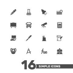 Set Of 16 School Icons Set.Collection Of Writing, Ringing, Learning And Other Elements.