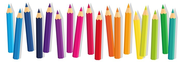 Vector Crayons_colored pencil collection loosely arranged_SET10