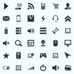 Vector Illustration Set Of Simple Computer Icons. Elements Begin, Smartphone, Home And Other Synonyms Smartphone, Screen And Battery.