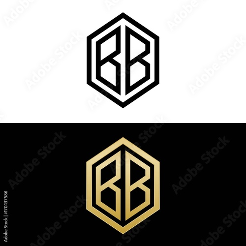 Initial letters logo bb black and gold monogram hexagon for Bb design