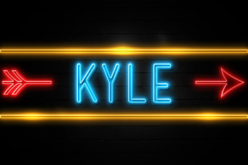 Kyle  - fluorescent Neon Sign on brickwall Front view
