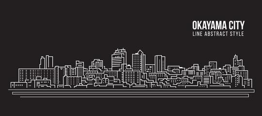 Cityscape Building Line art Vector Illustration design - Okayama city