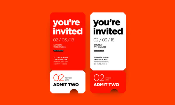 You're Invited Invitation in Flat Ticket Style Design With Venue Date and Time Details