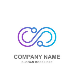 Infinity Technology Network Abstract Logo Vector