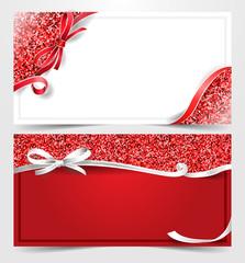Weihnachten Gutschein Karte Set mit Glitzer rot weiß
