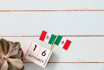 SEPTEMBER 12 Wooden calendar Concept independence day of Mexico and Mexico national day.with space for your text
