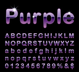 round purple letters