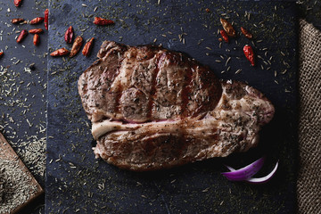 grilled strip steak seasoned with different spices