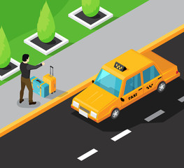 Taxi Service Isometric Background