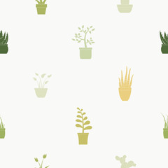 Seamless pattern with house plants icons for your design