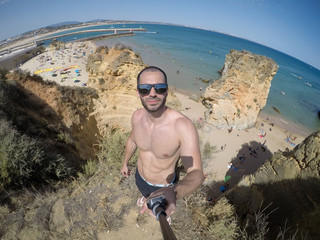 Selfie of Amazing View of a beach in Algarve, Portugal