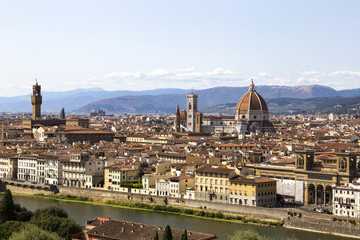 View on the Florence, Arno river and Cathedral di Santa Maria del Fiore (Duomo di Firenze)