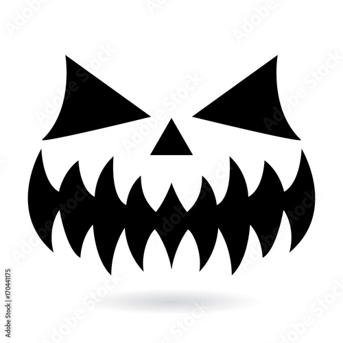 Scary Halloween Pumpkin Face Vector Design Ghost Or Monster Mouth