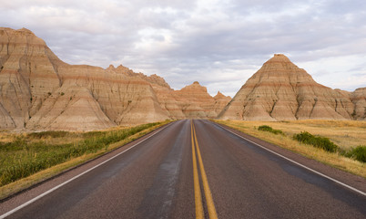Highway into Rock Formations Badlands National Park South Dakota