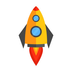 Outer space rocket space ship vector icon