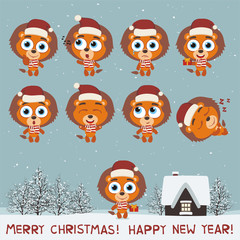 Merry Christmas and Happy New Year! Set funny lion in various poses for christmas decoration and design. Collection isolated lions in cartoon style.