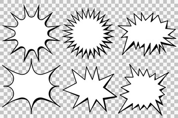 Blank template comic text speech bubble star set vector. Dialog empty box space. Comics book sketch explosion sudden burst bomb