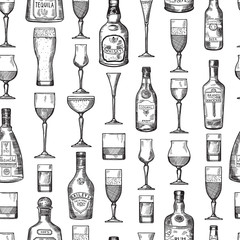 Seamless pattern with alcoholic drinking glasses. Vector illustration in hand drawn style