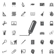 The marker icon. Highlighter symbol. Flat Vector illustration Education set