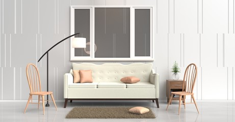 White room decorated with cream sofa,tree in glass vase, orange pillows, Blue book, Wood bedside table, lamp ,Wood chair, window,White cement wall it is pattern, white cement floor. 3d rendering.