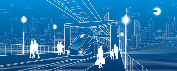 Infrastructure and transport illustration. Monorail railway. People walking under flyover. Crosswalk. Train move. Modern night city. Towers and skyscrapers. White lines. Vector design art