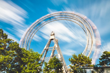 Wiener Riesenrad, Long exposure of ferris wheel at Prater in Vienna Austria