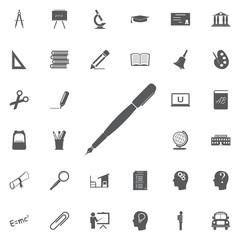 Pen icon, isolated. Flat design. Education set