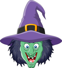 Cartoon witch head isolated on white background