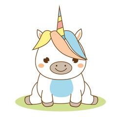 Cute unicorn sitting. Kawaii style. Cartoon magic animal character for kids, toddlers and babies fashion