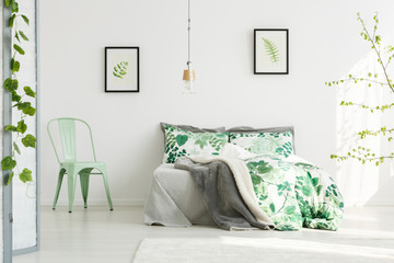 Mint chair in inspiring bedroom