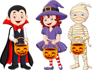 Cartoon kids with halloween costume holding pumpkin basket