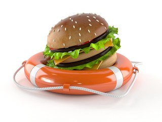 Hamburger with life buoy