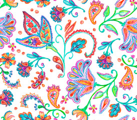 Hand drawn flower seamless pattern (tiling). Colorful seamless pattern with flowers, paisley and leaves. Isolated objects on a white background. Doodle style. Perfect for textile, cover design.