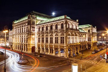 Garden Poster Vienna State Opera in Vienna Austria at night