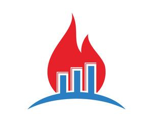burning graph chart diagram icon image vector