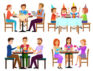 Eating adults and kids set sitting in restaurant cafe or bar isolated vector illustration. People eating.