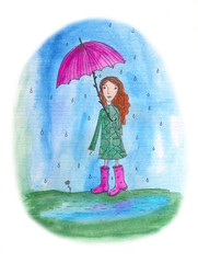 A little girl with umbrella. Watercolor illustration.