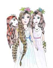 Three girls with long curly hair on craft paper, hand drawn illustration.