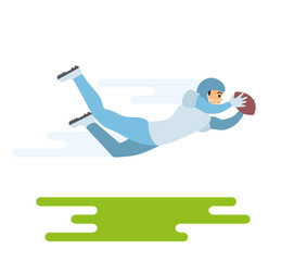 American football player. Vector character illustration