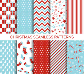 Set of Christmas seamless vector patterns