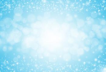 Soft Blue glitter sparkles rays lights bokeh festive elegant abstract background.