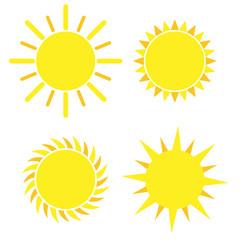 Yellow sun icon set isolated on white background. Modern simple flat sunlight, sign. Vector illustration