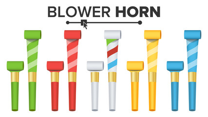 Party Horn Set Vector. Color Penny Whistle. Top View. Isolated On White Illustration