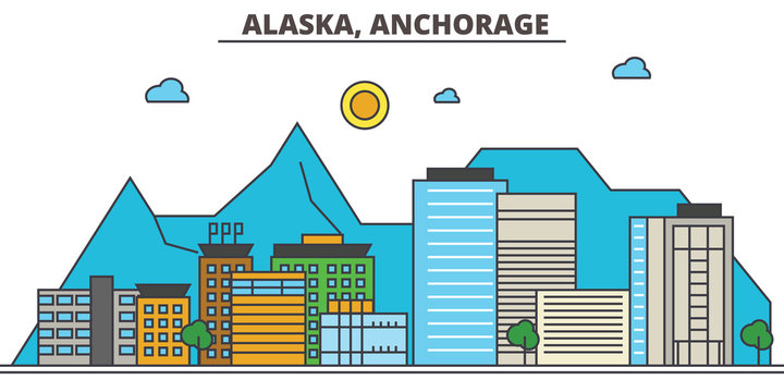 Alaska, Anchorage.City skyline: architecture, buildings, streets, silhouette, landscape, panorama, landmarks. Editable strokes. Flat design line vector illustration concept. Isolated icons